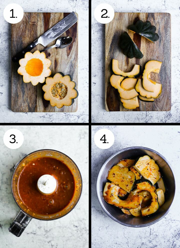 Step by step photos showing how to make Sweet and Spicy Acorn Squash. Cut the squash in half and scoop out seeds (1), cut into slices (2), make the sauce (3), Toss the squash in the sauce and grill (4).