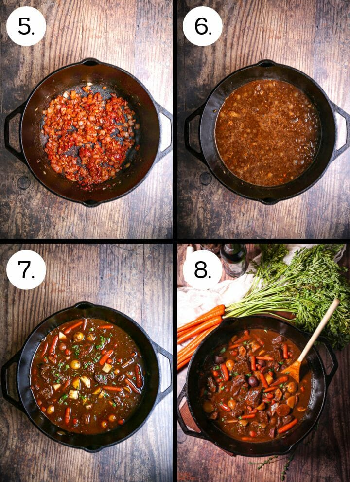 Step by step instructions showing how to make Guinness Braised Beef Stew. Add the tomato paste to the onions (5), add the beer and stock and beef (6), add the veg (7), cook until tender (8).