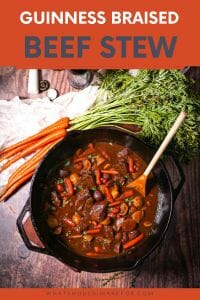 Hearty Guinness braised beef stew is chock full of tender root vegetables and makes a rich and satisfying one-pot meal!
