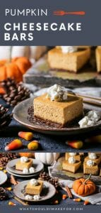 What do you get when you cross pumpkin with cheesecake and gingersnaps? The best day ever! Creamy, with warm and toasty fall flavors and and a spicy gingersnap crust, these pumpkin cheesecake bars are the perfect make-ahead Thanksgiving dessert.