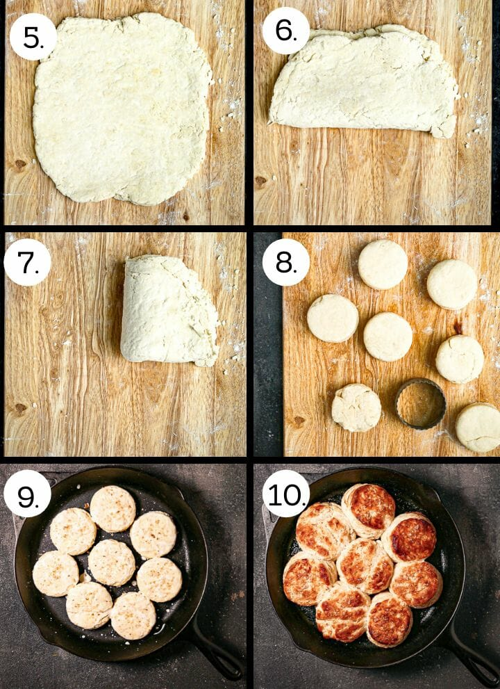 Step by step photos showing how to make the best flaky biscuits. Roll out the dough (5), fold in half (6), fold in half again (7), roll out and cut out biscuits (8), place a pan and brush with buttermilk (9), bake until golden brown (10).