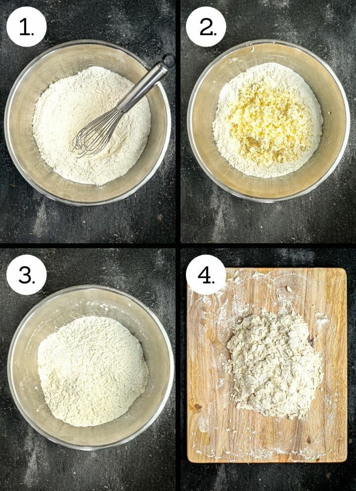 Step by step photos showing how to make the best flaky biscuits. Whisk together the dry ingredients (1), add the grated butter (2), lightly toss (3), add the buttermilk and turn out onto a board (4).