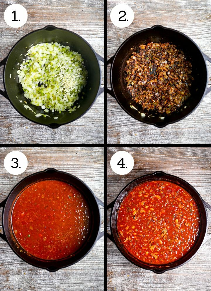 Step by step photos showing how to make Leftover Turkey Chili. Saute onion, peppers and garlic (1), add spices (2). add tomato and stock (3), add turkey and beans (4).