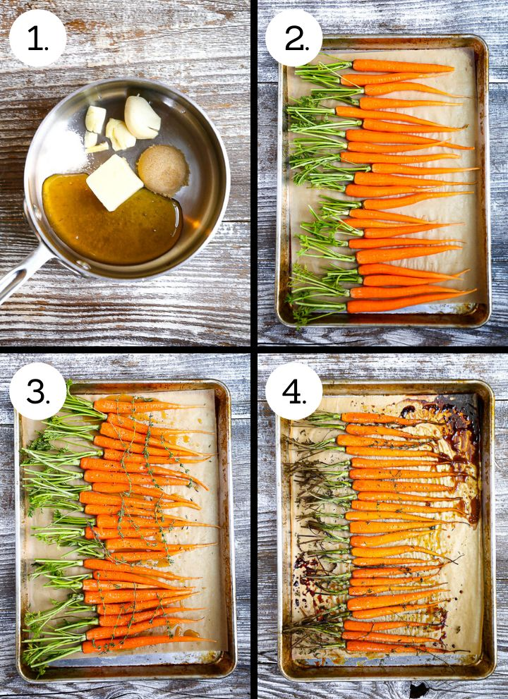 Step by step photo showing how to make Honey Glazed Carrots. Combine the ingredients for sauce in a pan (1), peel and trim the carrots (2), cover with the glaze (3), roast until tender (4).