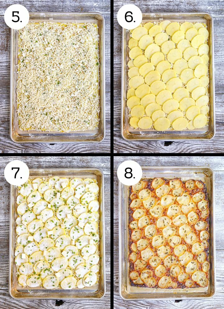 Step by step photos showing how to make a Honey Mustard Potato Tart. Spread the cheese over the top (5), layer the potato slices (6), top with butter and chives (7), bake until golden brown (8).
