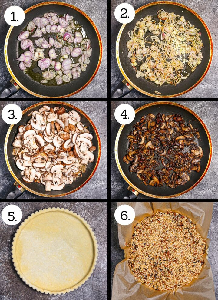 Step by step photos showing how to make a mushroom tart. Add the sliced shallots to the pan (1), cook until the shallots are golden brown (2), add the mushrooms (3), cook until caramelized (4), press the dough into the tart pan (5), fill with pie weights (6).