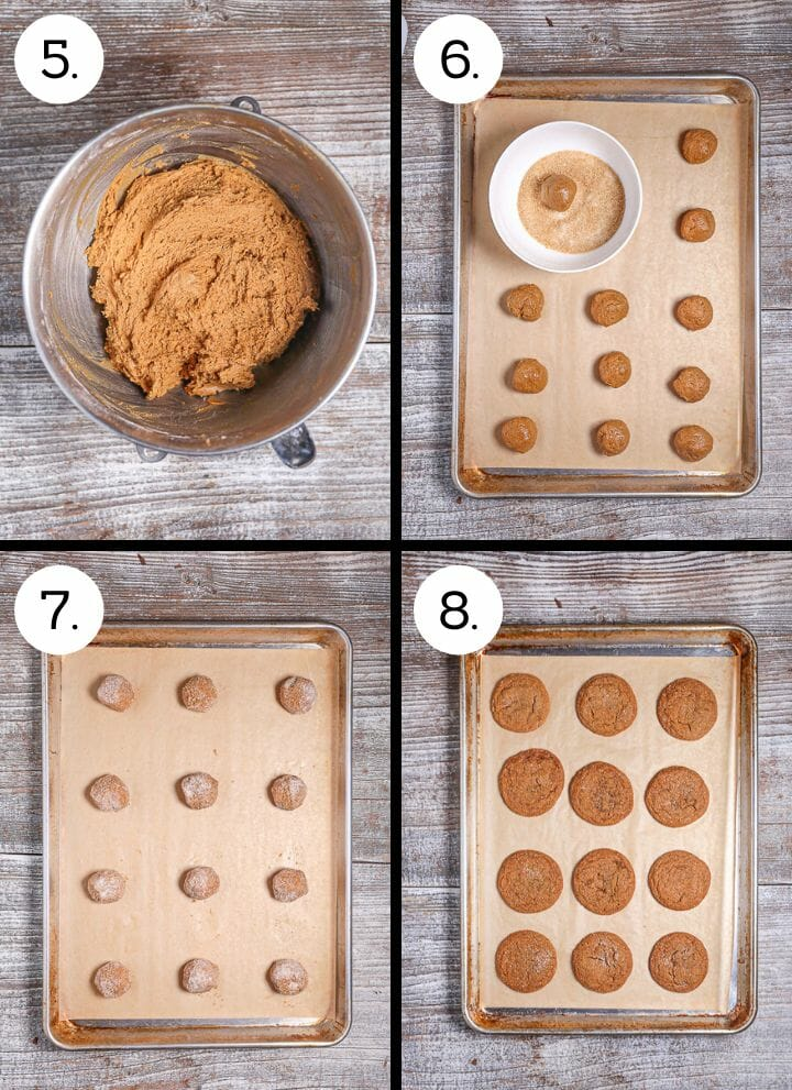 Step by step photos showing how to make Soft Molasses Cookies. Mix in the flour (5), Roll the dough into balls (6), roll in sugar (7), Bake until beginning to crack (8).