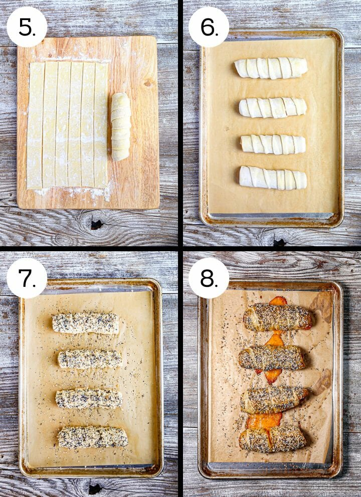 Step by step photos showing how to make Pigs in a Blanket with a TWIST! Finish rolling the franks (5), lay them on a sheet tray (6), brush with egg wash and sprinkle with seeds (7), bake until puffed and golden brown (8).