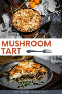 This savory mushrooom tart is layered with earthy mushrooms, caramelized shallots, and a cheesy custard in a flaky, buttery shell.