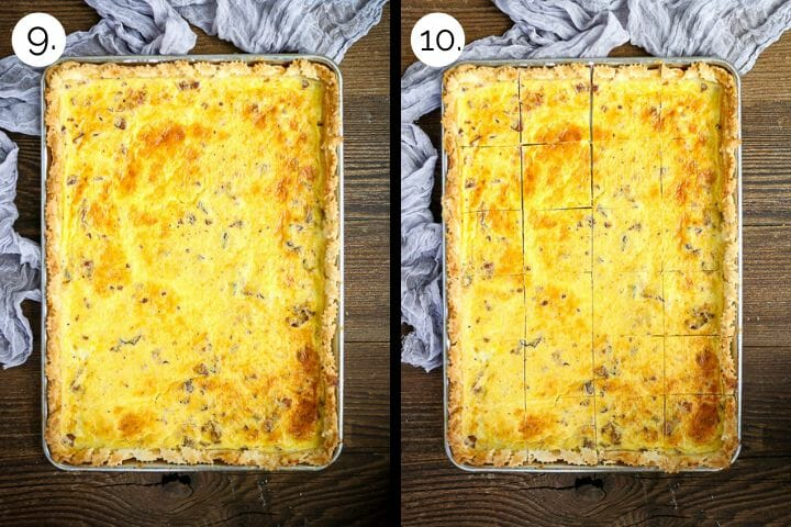 Step by step photos showing how to make Sheet Pan Quiche Lorraine. Bake until custard is set and golden (9), cut into squares and serve (10).