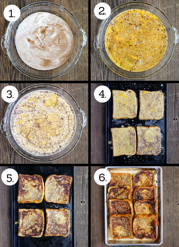 Step by step photos showing how to make Brioche French Toast. Mix the cinnamon and sugar (1), whisk in the eggs (2), Whisk in the milk and vanilla (3), dip and cook on one side (4), flip and continue cooking (5), keep warm in the oven and serve (6).