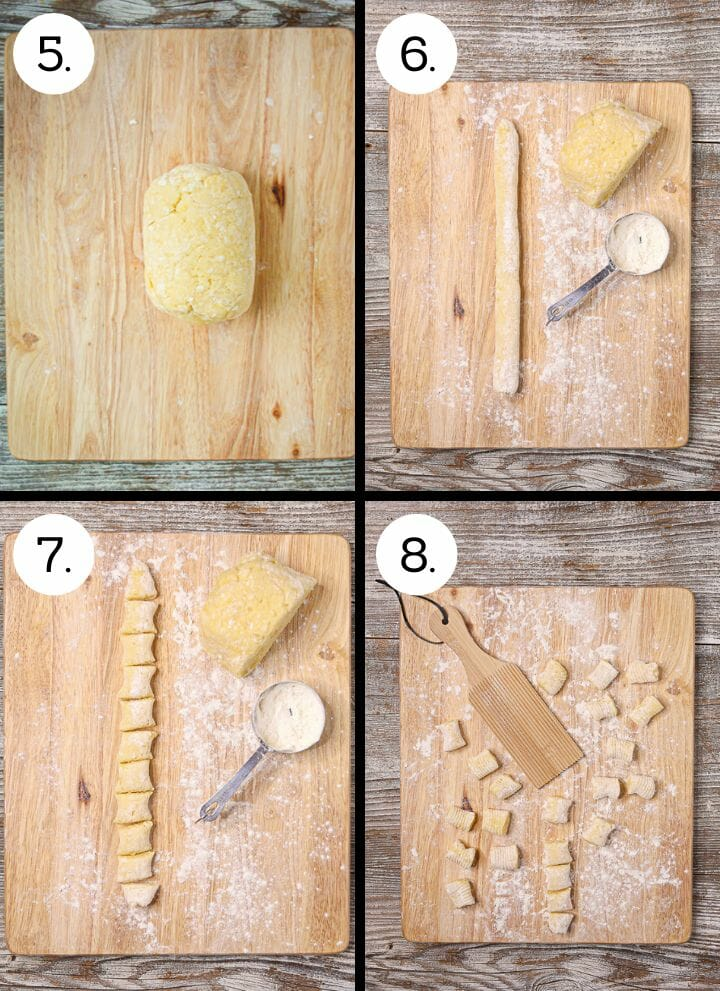 Step by step photos showing how to make homemade gnocchi. Form into a cylinder (5), cut off pieces and roll into a strip (6), cut into one inch pieces (7), roll on ridged paddle (8).