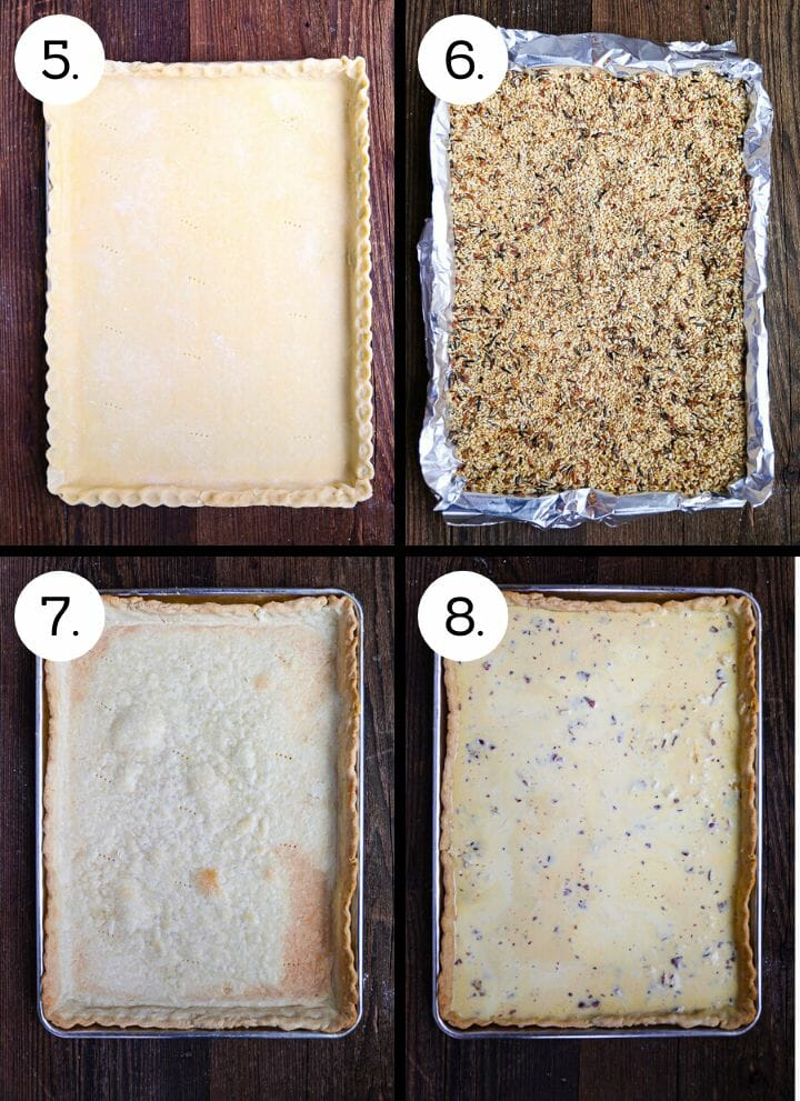 Step by step photos showing how to make Sheet Pan Quiche Lorraine. Lay the dough in the sheet pan and crimp the edges. (5), line the dough with foil and fill with pie weights (6), remove weights and bake 10 more mins (7), fill with the custard and bake (8).