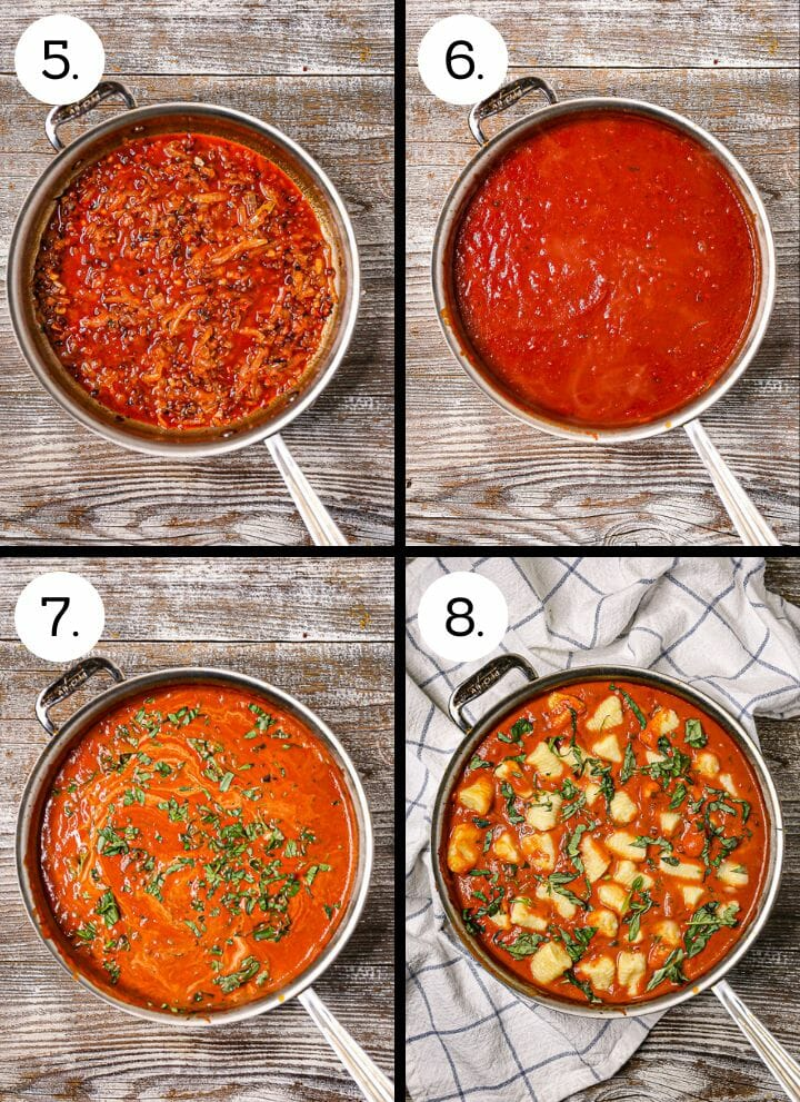 Step by step photos showing how to make Gnocchi in Creamy Tomato Basil Sauce. Add the white wine (5), add the tomato sauce and water (6), stir in the cream and basil (7), add the gnocchi (8).
