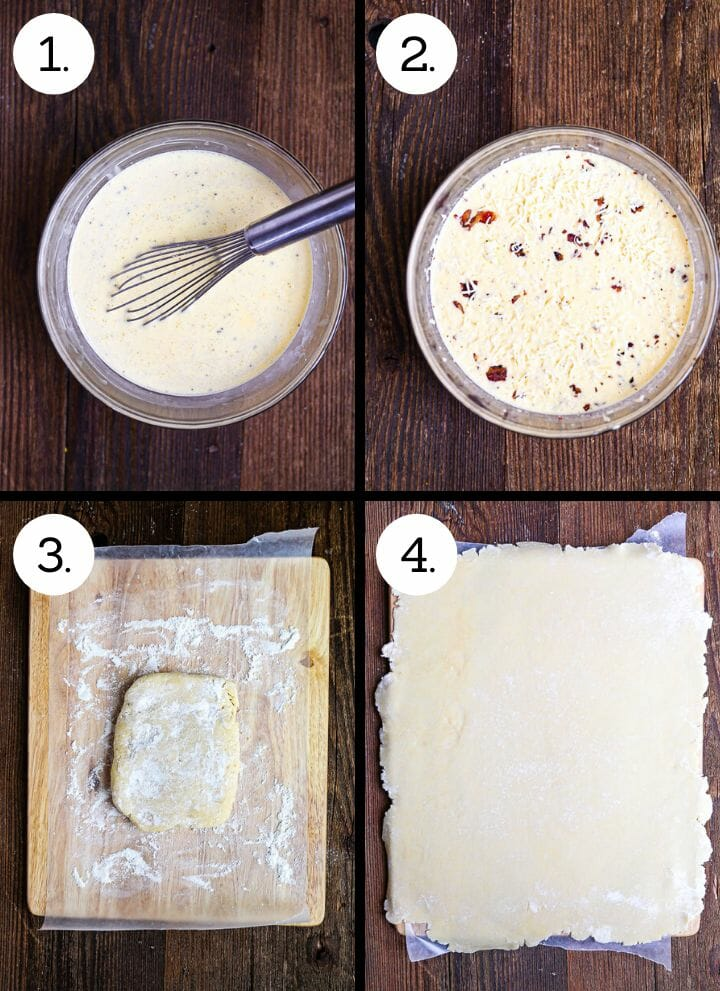 Step by step photos showing how to make Sheet Pan Quiche Lorraine. Whisk the eggs, cream and milk together (1), add the cheese and bacon (2), place the dough on lightly floured surface (3), roll out to larger than the sheet pan (4).