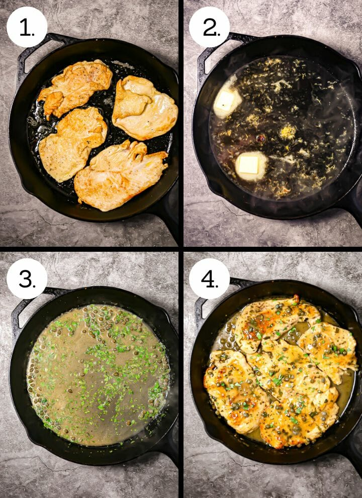 Step by step photos showing how to make chicken piccata. Sear the chicken (1), reduce the wine and add the butter (2), stir in capers and parsley (3), add the chicken back and turn to coat (4).