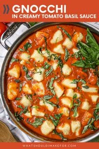 Fluffy pillows of gnocchi smothered in creamy tomato basil sauce needs to be your next Sunday supper.