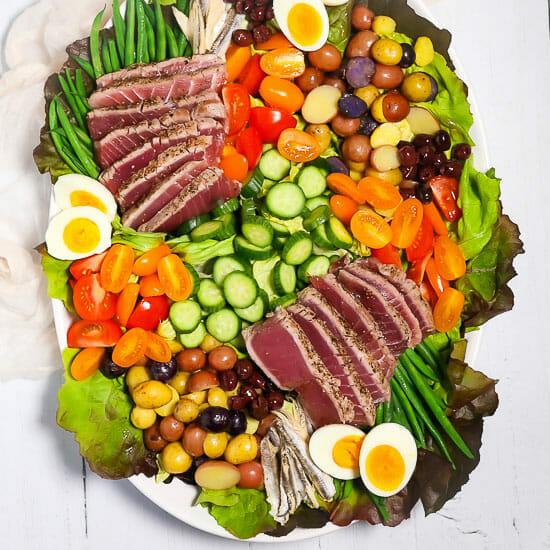 Overhead shot of a Seared Tuna Nicoise Salad.