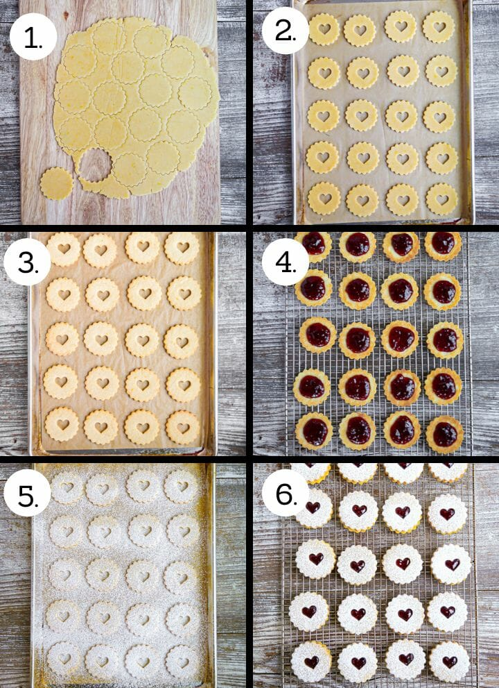 Step by step photos showing how to make Nut-Free Linzer Cookies. Cut out the cookies (1), cut shapes in the tops (2), bake until golden (3), fill with jam (4), dust the tops with powdered sugar (5), put the sandwich cookies together (6).