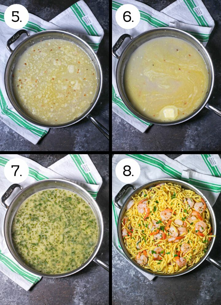 Step by Step photos showing how to make easy shrimp scampi. Add the wine (5), swirl in the butter (6). add the herbs (7), add the pasta and shrimp (8).