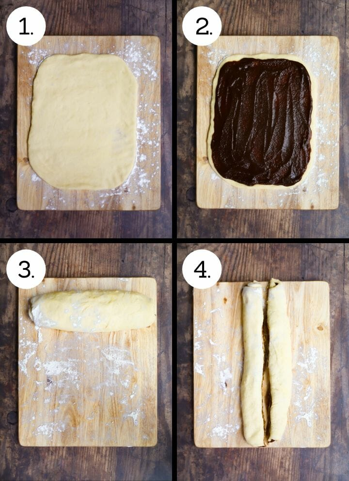 Step by step photos showing how to make Cinnamon Babka. Roll out the dough into a large rectangle (1), spread the cinnamon mixture over (2), roll up the short way (3), slice in two (4).