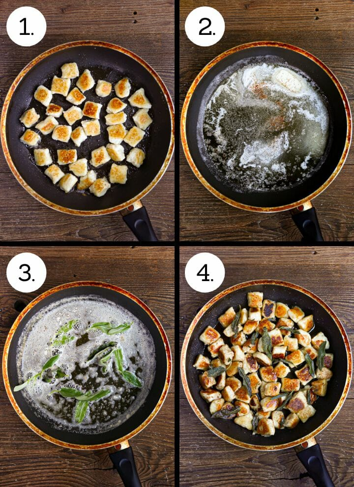 Step by step photos showing how to make pan seared gnocchi. Sear the gnocchi (1), melt the butter (2), add the sage (3), add the gnocchi (4).