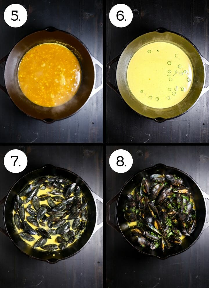 Step by step photos showing how to make Curry Coconut Mussels. Add the wine (5), add the coconut milk and the chiles (6), add the cleaned mussels (7), cover and steam, then add herbs (8).