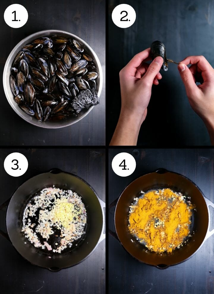 Step by step photos showing how to make Curry Coconut Mussels. Soak and scrub the mussels (1), debeard the mussels (2), saute the shallots, ginger and garlic (3), add the curry (4)