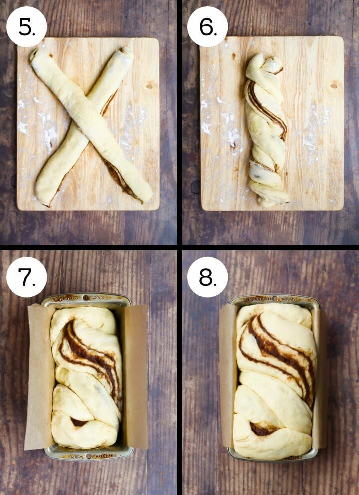 Step by step photos showing how to make Cinnamon Babka. Place the dough in an X (5), twist (6), place in a lined loaf pan to rise (7), once risen, bake (8).