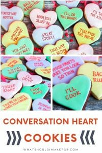 Remember those Valentine's day candies of your youth? Today they're transformed into conversation heart cookies with messages that will really make your heart flutter!