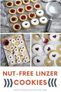 The buttery, tender, nut-free linzer cookies are filled with raspberry jam and generously dusted with powdered sugar. Perfect with a cup of tea and a good book!