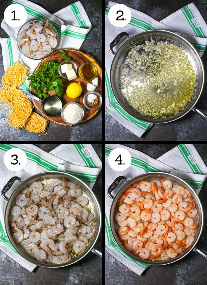 Step by step photos showing how to make easy shrimp scampi. Gather ingredients (1), saute the garlic (2), add the shrimp (3), cook until pink and remove (4)