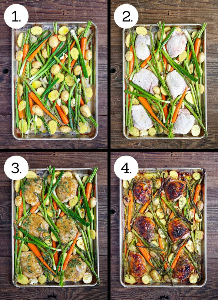 Step by step photos showing how to make Mustard Glazed Sheet Pan Chicken. Scatter the vegetables on a sheet tray (1), nestle in the chicken (2), brush on the glaze (3), roast and serve (4).
