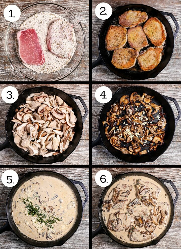 Step by step photos showing how to make Pork Chops in Creamy Mushroom Sauce. Dredge in flour (1), brown (2), add mushrooms to the pan (3), brown and add garlic (4) add cream and remaining ingredients (5), add the chops (6).