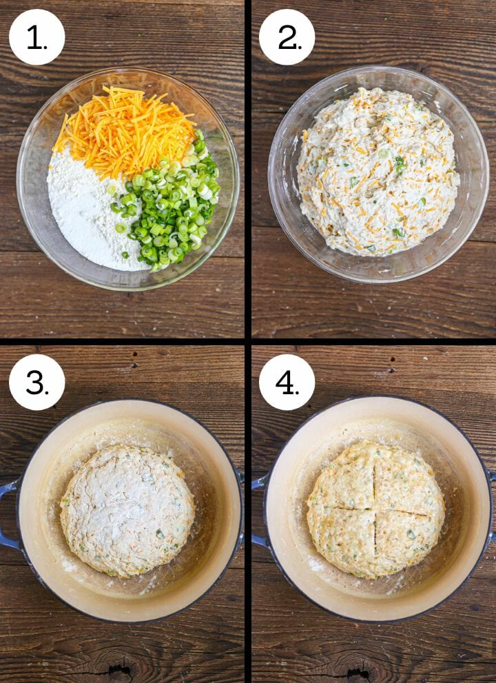 Step by step photos showing how to make Cheddar and Scallion Soda Bread. Combine the dry ingredients in a bowl (1), mix in the buttermilk (2), form and place in the baking dish (3), cut, brush with butter and bake (4).