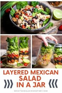 This layered Mexican salad in a jar is packed with spicy chicken, juicy red tomatoes, avocado, tender baby spinach, shredded cheese and topped with zingy jalapeño ranch dressing. It's the perfect meal on the go!