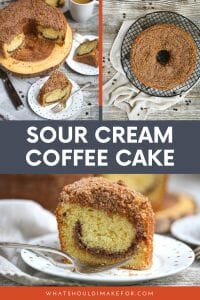 This tender and moist sour cream coffee cake is topped with cinnamon nut topping and is delicious paired with a hot cup of coffee.
