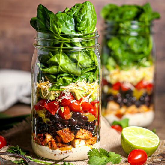 Layered Mexican Salad in a Jar all ready to shake.